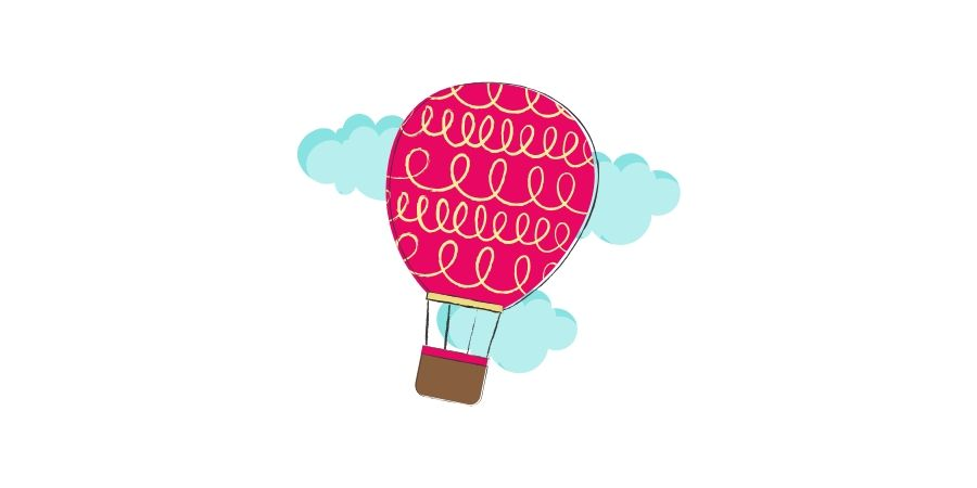 Wolke-vier-Heißluftballon